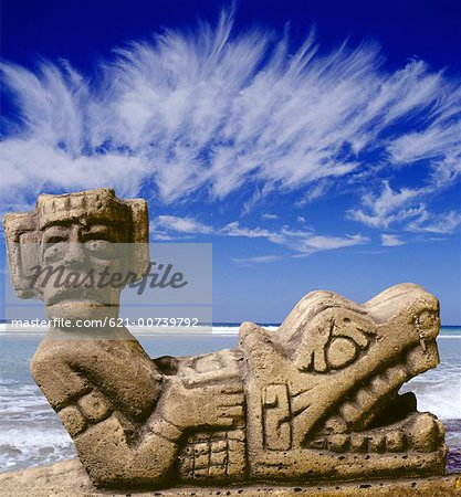Chaac Mool in Cancun, Mexico Stock Photo - Premium Royalty-Free, Image code: 621-00739792