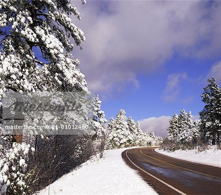 Road Through Snowy Landscape of Grand Canyon National Park, Arizona Stock Photo - Premium Royalty-Free, Image code: 621-01012460