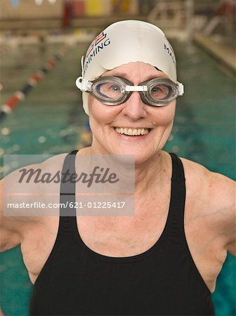 Smiling senior citizen swimmer Stock Photo - Premium Royalty-Free, Image code: 621-01225417