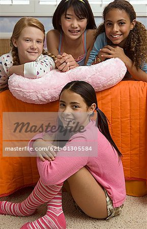 Preteen girls at slumber party