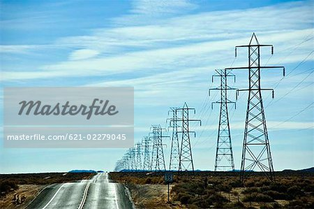 Electrical pylons Stock Photo - Premium Royalty-Free, Image code: 621-02279045