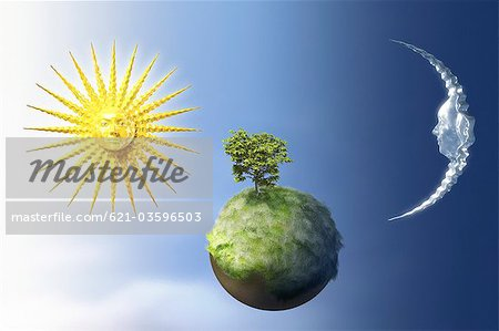 Sun and moon over a small green planet. Stock Photo - Premium Royalty-Free, Image code: 621-03596503