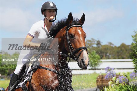 Horse Rider Crossing Water, Equestrian Event Stock Photo - Premium Royalty-Free, Image code: 622-05786744