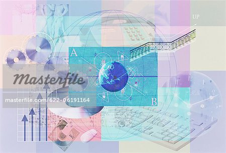 Illustration Of Globe And Computer Hardware Stock Photo - Premium Royalty-Free, Image code: 622-06191164
