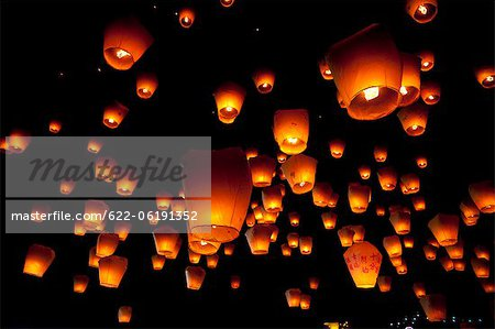 Hanging Lanterns At Night Stock Photo - Premium Royalty-Free, Image code: 622-06191352