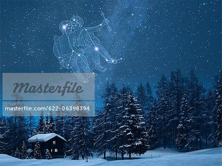 Gemini constellation in the snowy Switzerland Stock Photo - Premium Royalty-Free, Image code: 622-06398394