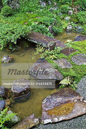 Traditional Japanese garden in Takayama, Gifu Prefecture Stock Photo - Premium Royalty-Free, Image code: 622-06439875