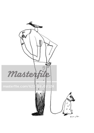 Man and dog illustration Stock Photo - Premium Royalty-Free, Image code: 622-06900124
