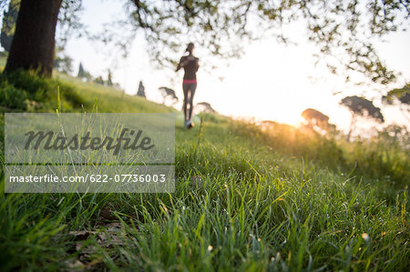 Young Girl Running In A Park Stock Photo - Premium Royalty-Free, Image code: 622-07736003