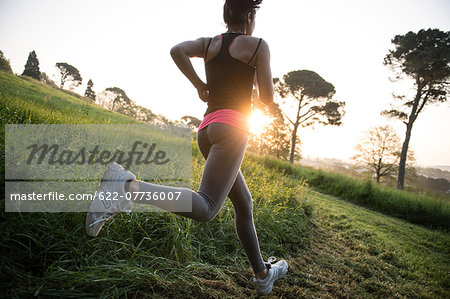 Young Girl Running In A Park Stock Photo - Premium Royalty-Free, Image code: 622-07736007