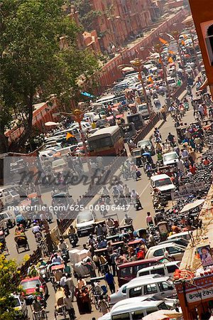 High angle view of traffic on the streets, Jaipur, Rajasthan, India Stock Photo - Premium Royalty-Free, Image code: 625-00806447