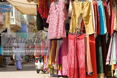 Clothes on display in a market, Pushkar, Rajasthan, India