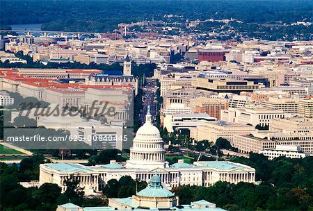 Aerial view of a government building, Capitol Building, Washington DC, USA