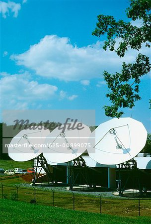 Satellite dish on a landscape, Maryland, USA