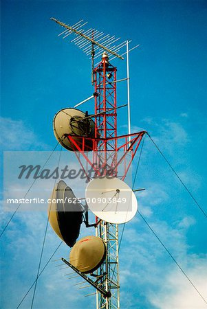 Low angle view of a radio tower Stock Photo - Premium Royalty-Free, Image code: 625-00903849