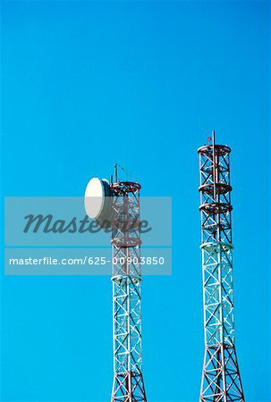 Low angle view of communications towers, Leesburg, Virginia, USA