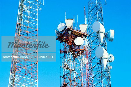 Low angle view of microwave radio towers, Washington DC, USA Stock Photo - Premium Royalty-Free, Image code: 625-00903851
