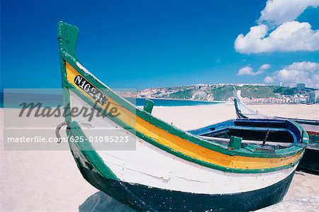 Fishing boats on the beach, Nazare, Portugal