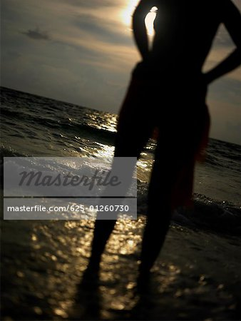 Silhouette of a young woman standing on the beach Stock Photo - Premium Royalty-Free, Image code: 625-01260730