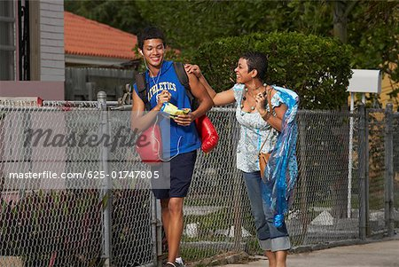 Teenage boy and his sister walking on the walkway Stock Photo - Premium Royalty-Free, Image code: 625-01747805