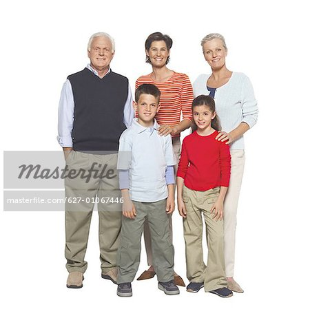 Portrait of a three generation family Stock Photo - Premium Royalty-Free, Image code: 627-01067446
