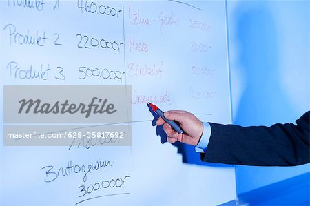 Businessman calculating on whiteboard Stock Photo - Premium Royalty-Free, Image code: 628-05817692