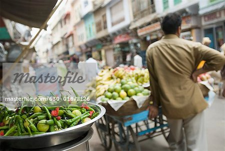Rear view of a hawker standing near a cart in a street, Ajmer, Rajasthan, India Stock Photo - Premium Royalty-Free, Image code: 630-01872126