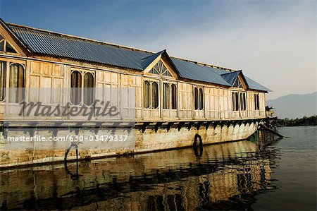 Houseboat in a lake, Dal Lake, Srinagar, Jammu and Kashmir, India