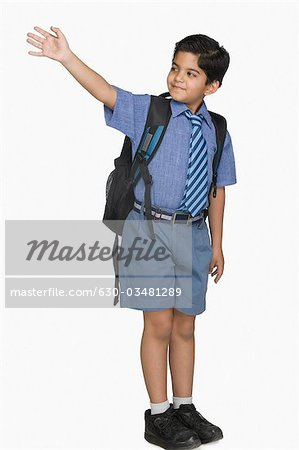 Schoolboy leaving for the school Stock Photo - Premium Royalty-Free, Image code: 630-03481289