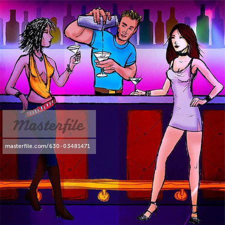 Bartender serving cocktail to two women in a nightclub Stock Photo - Premium Royalty-Free, Image code: 630-03481471