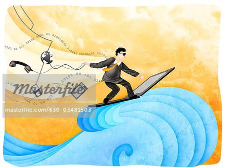 Businessman surfing the net Stock Photo - Premium Royalty-Free, Image code: 630-03481503