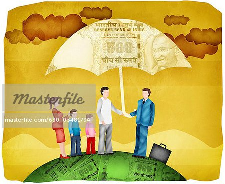 Illustration of Family with Sales Representative Standing Under Umbrella Stock Photo - Premium Royalty-Free, Image code: 630-03481794