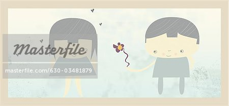 Boy giving a flower to a girl Stock Photo - Premium Royalty-Free, Image code: 630-03481879