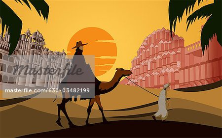 Tourist riding a camel in front a palace, Hawa Mahal, Jaipur, Rajasthan, India Stock Photo - Premium Royalty-Free, Image code: 630-03482199
