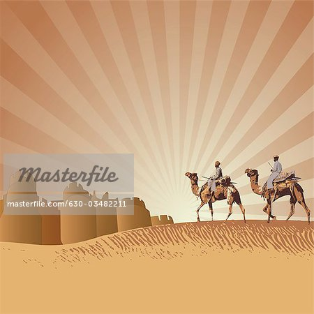 Two men riding camels in a desert, Rajasthan, India Stock Photo - Premium Royalty-Free, Image code: 630-03482211