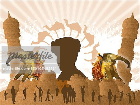 People in front of a fort, Rajasthan, India Stock Photo - Premium Royalty-Free, Image code: 630-03482214