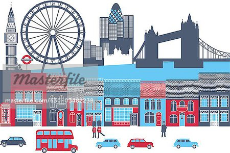 Montage of landmarks in a city, London, England Stock Photo - Premium Royalty-Free, Image code: 630-03482238
