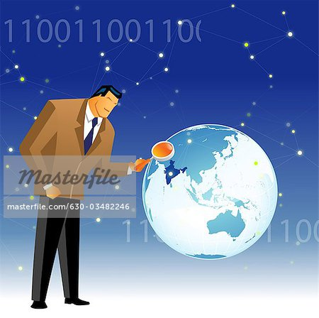 Businessman examining map of India Stock Photo - Premium Royalty-Free, Image code: 630-03482246