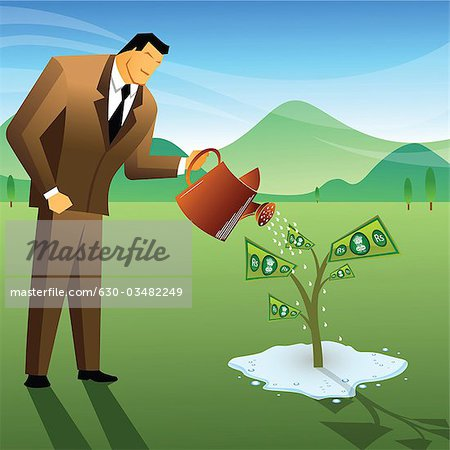 Businessman watering a money plant Stock Photo - Premium Royalty-Free, Image code: 630-03482249