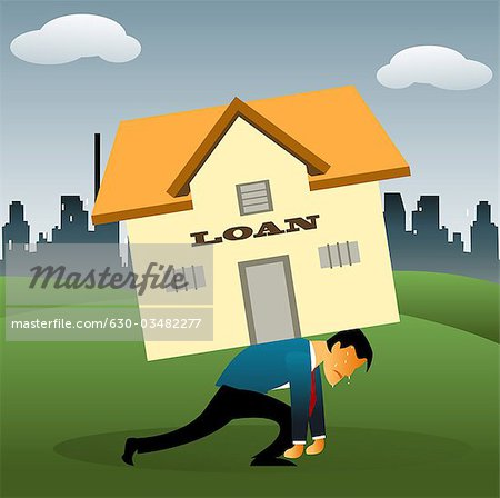 Illustrative representation of a man overburdened with housing loan Stock Photo - Premium Royalty-Free, Image code: 630-03482277