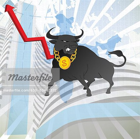Bull with uprise arrow sign in front of a stock exchange, Bombay Stock Exchange, Mumbai, Maharashtra, India Stock Photo - Premium Royalty-Free, Image code: 630-03482372