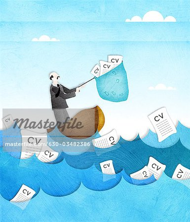 Businessman catching resume from the sea with a fishing net Stock Photo - Premium Royalty-Free, Image code: 630-03482386