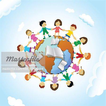 Chain of schoolchildren around the globe stock photo premium royalty