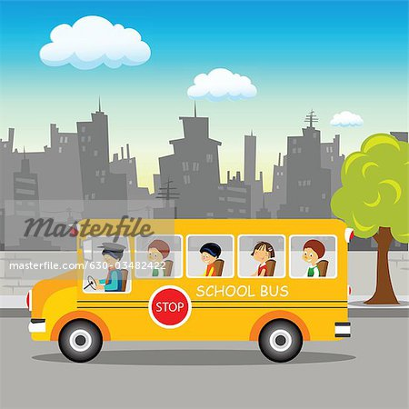School bus on its way Stock Photo - Premium Royalty-Free, Image code: 630-03482422