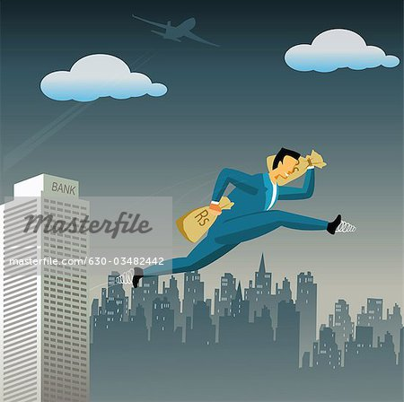 Businessman flying high with money bags Stock Photo - Premium Royalty-Free, Image code: 630-03482442