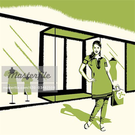 Woman standing in front of a showroom Stock Photo - Premium Royalty-Free, Image code: 630-03482508
