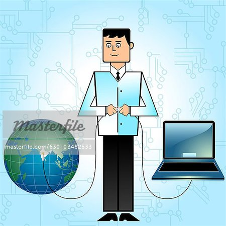 Businessman connecting India with network Stock Photo - Premium Royalty-Free, Image code: 630-03482533