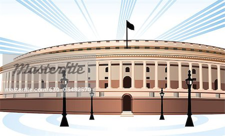 Facade of a government building, Sansad Bhawan, New Delhi, India Stock Photo - Premium Royalty-Free, Image code: 630-03482570
