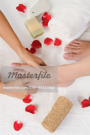 Woman receiving pedicure treatment at health spa Stock Photo - Premium Royalty-Free, Image code: 630-06721866