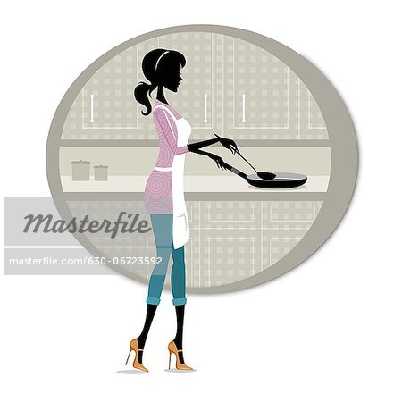 Woman cooking food in the kitchen Stock Photo - Premium Royalty-Free, Image code: 630-06723592